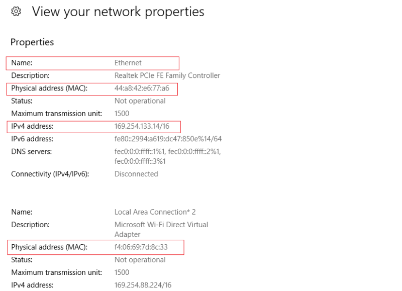 ip address and mac address windows 10