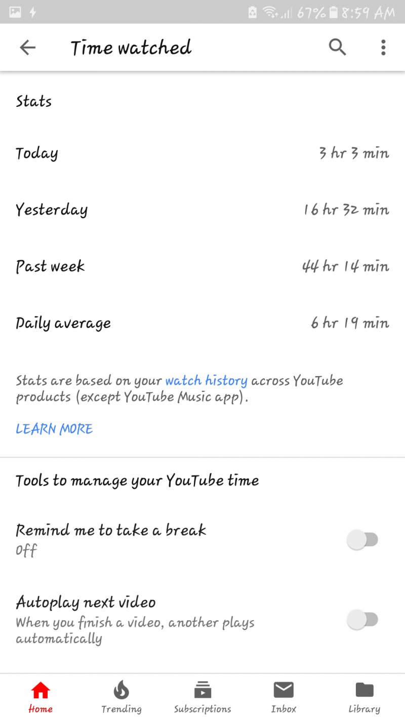 youtube watch time feature